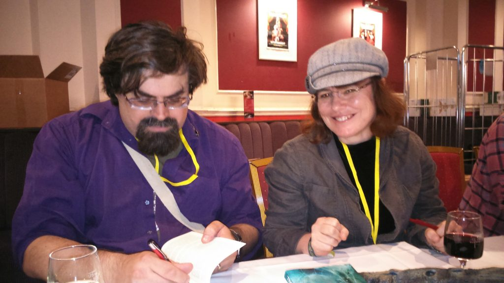 Adrian Tchaikovsky and Keris McDonald signing The Private Life of Elder Things.