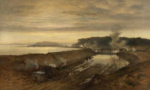 More details The Excavation of the Manchester Ship Canal: Eastham Cutting with Mount Manisty in the Distance (1891), by Benjamin Williams Leader