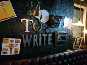 Typewriters on a wall in a pub