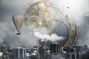 Clock over city with airship