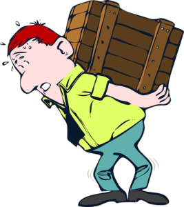 Man carrying heavy crate