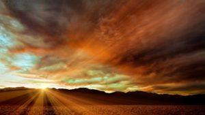 Sunrise over the desert.