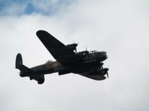 Lancaster bomber in flight