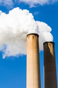 A pair of smoking chimneys